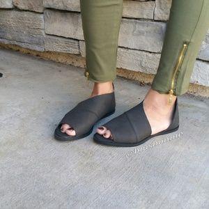 Shoes - Peep Toe Ankle Cut Out Flats